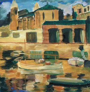 Sarah's painting of the colorful buildings with the building's reflection in the water.