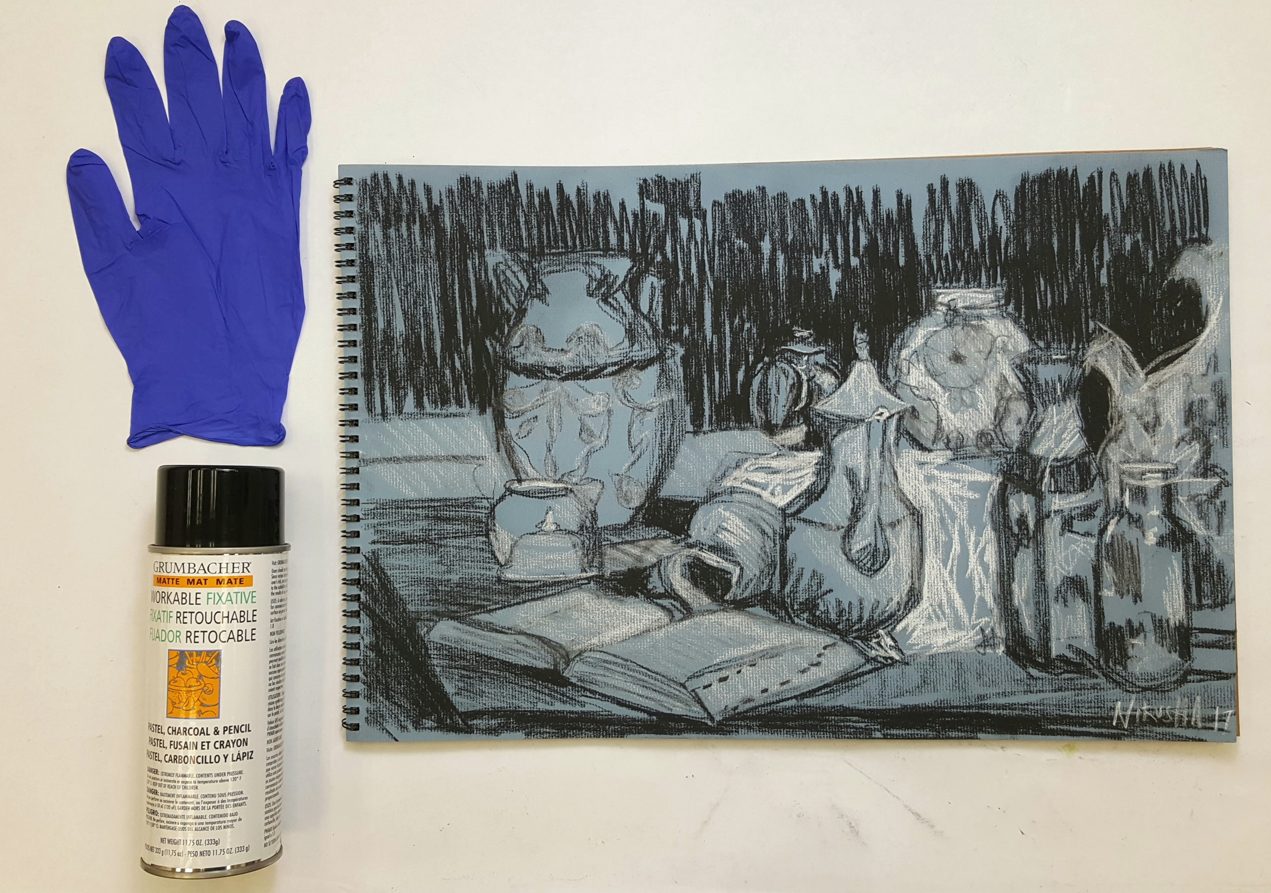 how to spray drawings with fixative